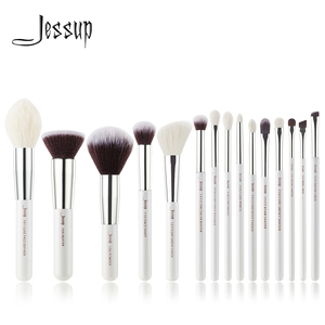 Image 1 - Jessup Pearl White /Silver Professional Makeup Brushes Set Make up Brush Tools kit Foundation Stippling natural synthetic hair