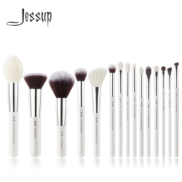 Jessup Pearl White /Silver Professional Makeup Brushes Set Make up Brush Tools kit Foundation Stippling natural synthetic hair