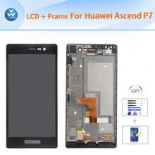 Original For Huawei P7 LCD with frame assembly LCD display touch screen digitizer glass full replacement black white 5″ pantalla