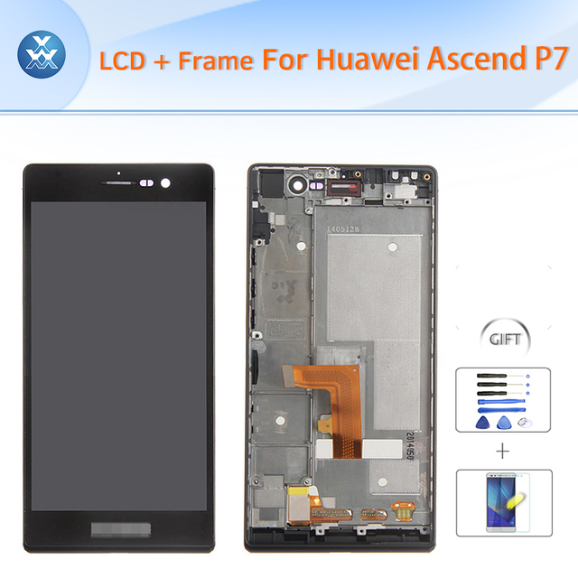 """Original For Huawei P7 LCD with frame assembly LCD display touch screen digitizer glass full replacement black white 5"""" pantalla"""