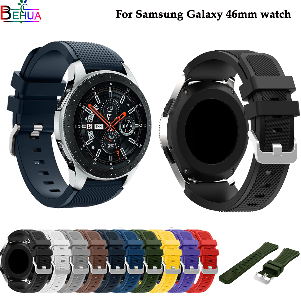 Galaxy 46mm Watchband Replacement Silicone Strap For Samsung Gear S3 22mm Sport Wristband For Samsung Galaxy 46mm SM-R800 Watch