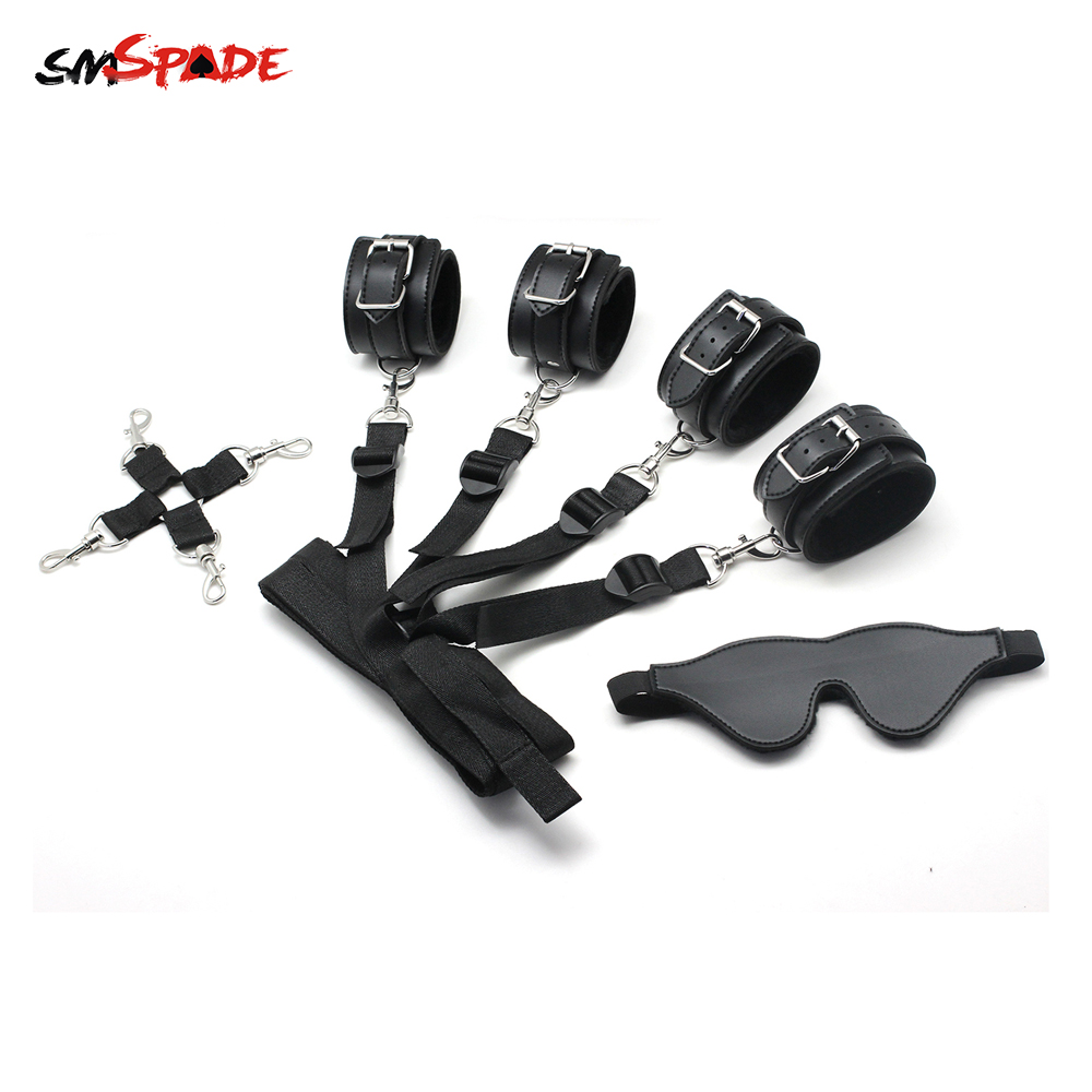 Smspade Bondage Restraint Kit Cuffs Ankles & Blindfold Multifunctional Under the Bed BDSM Adult Sex Toy for Couples PU & Velvet