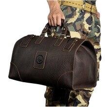 Высокое качество крупного рогатого скота Crazy Horse кожи человека большая емкость дорожная сумка дафл чемодан сумка 8151