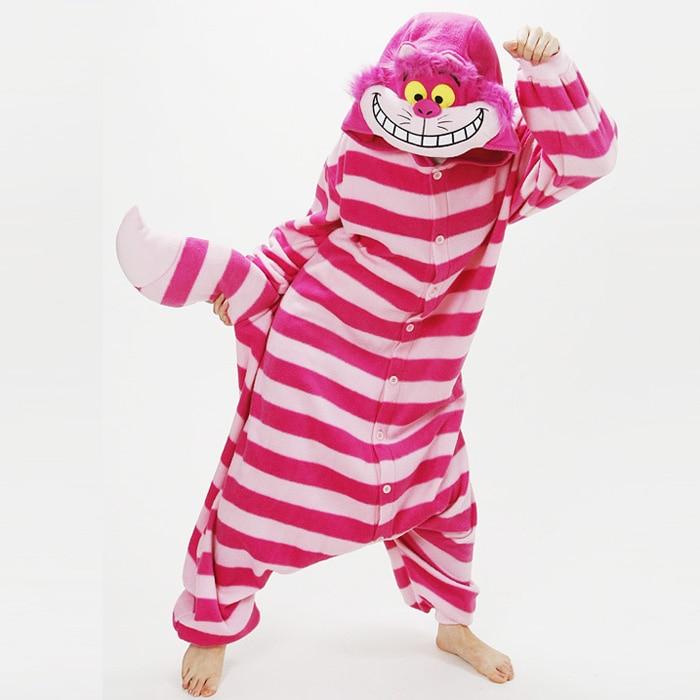 Adulto Cheshire Cat Costume Cosplay Onesies Pigiama Polar fleece Pigiama Cartone Animato 3D Animale Degli Indumenti Da Notte Donna Uomo Del Partito di Halloween