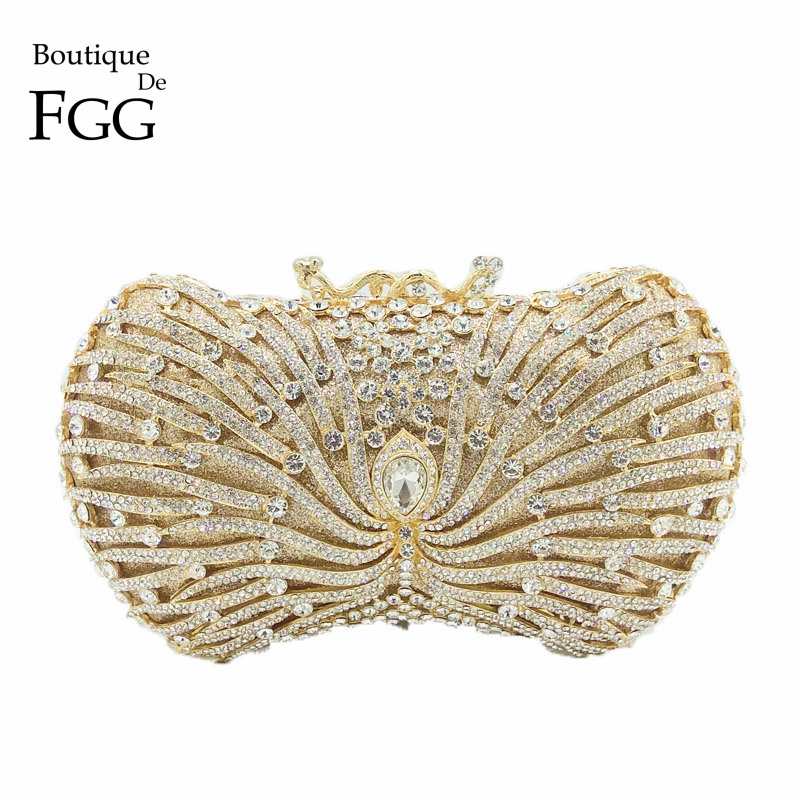 Boutique De FGG Dazzling Crystal Hollow Women Gold Evening Minaudiere Bag Metal Clutches Purse Cocktail Wedding Clutch Handbag gold plating floral flower hollow out dazzling crystal women bag luxury brand clutches diamonds wedding evening clutch purse