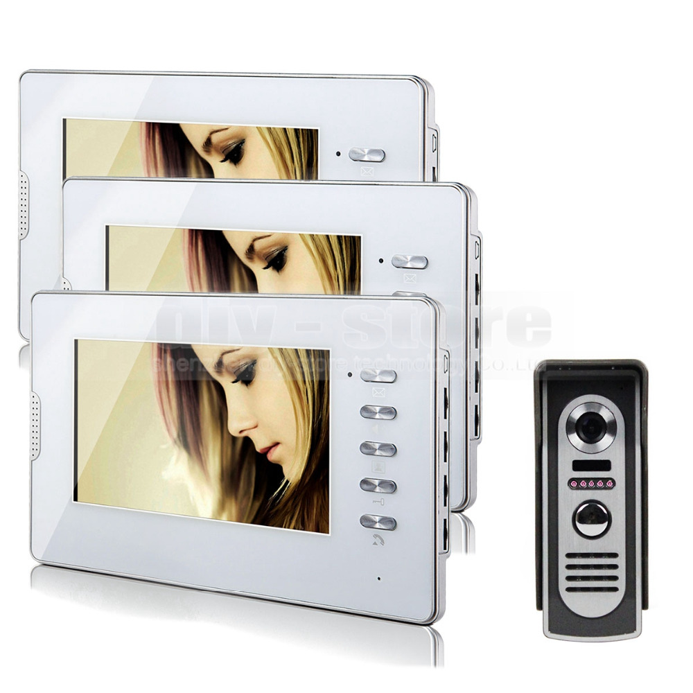 DIYSECUR 600TVL 7″ Wired Video Door Phone Audio Visual Intercom Entry System 1V3 For Villa House