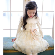 2016 марка осень весна девушки кружевном платье прекрасный красивым бантом выполнять с длинным рукавом хлопок принцесса ну вечеринку платье для девочек