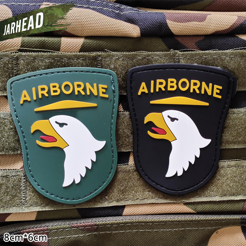 101st Airborne Division Military PVC Patches Velcro Rubber Armband Tactical Badge Personality For Backpack Hat Clothes