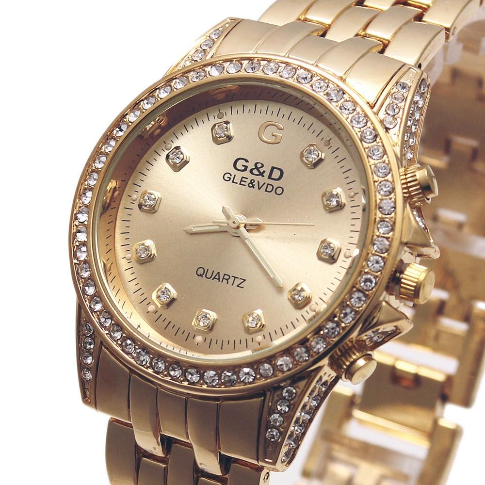 ᗑ G   D Femmes Quartz Montres D or En Acier Inoxydable Relojes ... ffb58b04443