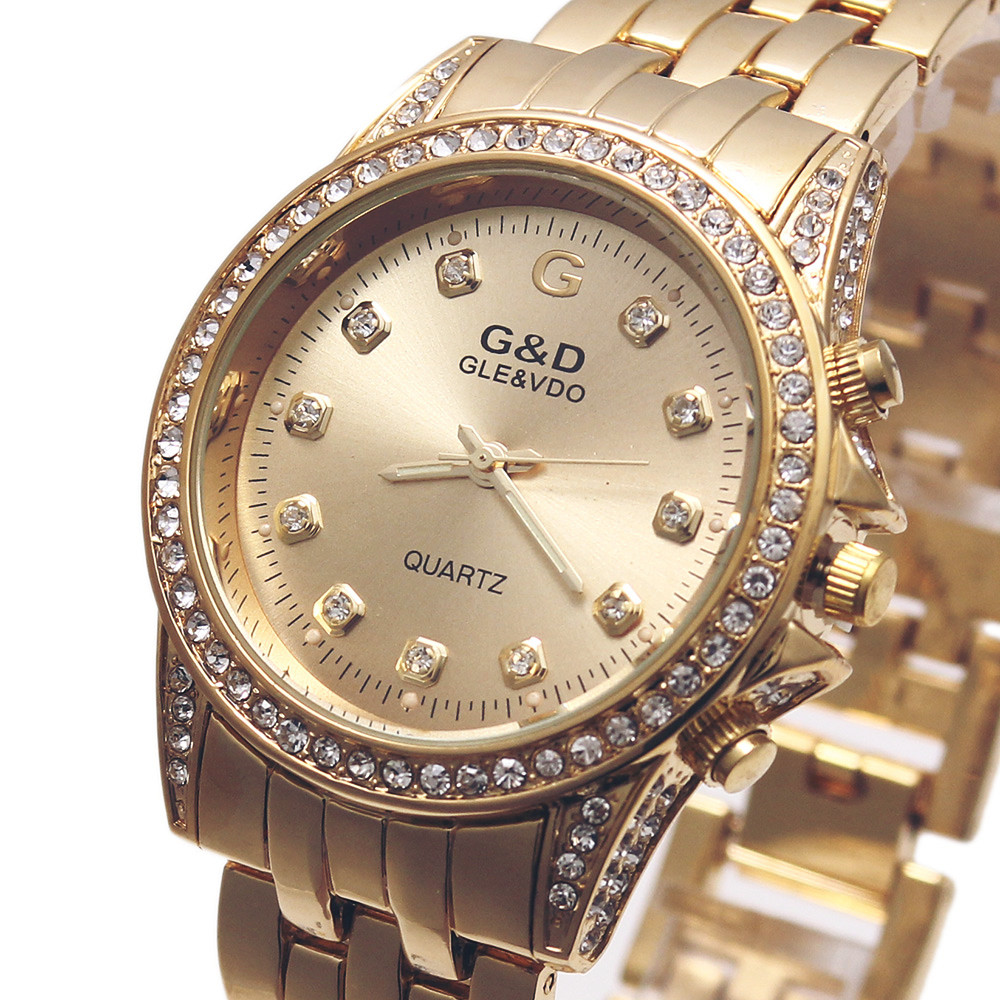 G&D Women Quartz Wristwatches Golden Stainless Steel Relojes Mujer Luxury Top Brand Lady Dress Watch Relogio Feminino Gift Boxes 2018 new arrival hot sale paris eiffel tower women lady girl stainless steel quartz wrist watch feminino relojes mujer gift