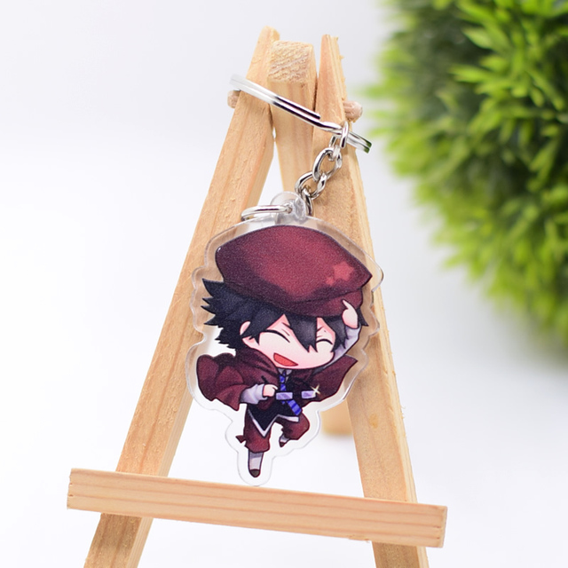 2019 Bungo Stray Dogs Keychain Double Sided Key Chain Acrylic Pendant Anime Accessories Cartoon Key Ring 4