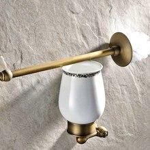 Juego de portaescobilla de baño de latón antiguo Retro Vintage montado en la pared accesorio de baño Taza de cerámica individual mba422