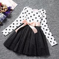 2017 Baby Winter Dress For Girl Long Sleeve Bow Princess Girls School Dresses Polka Dot Toddler