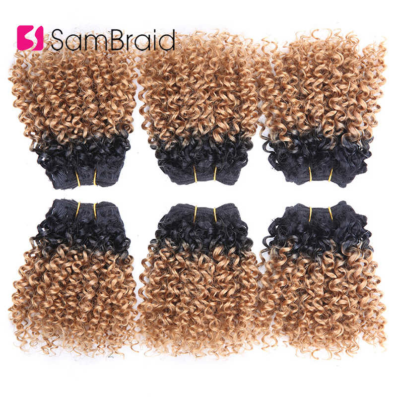 SAMBRAID 3 Bundles 8 Inch Short Afro Kinky Curly Hair Extensions Blended Hair Weaves Ombre Synthetic Hair Wefts