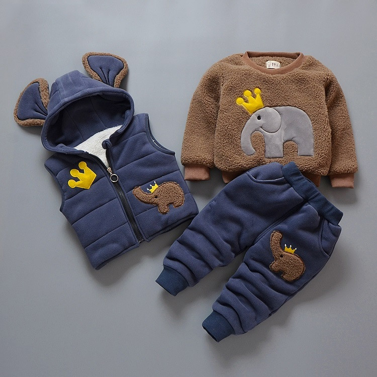 Autumn Winter Children Clothing Cute Elephant 3pcs Velvet Hooded Vest+Jackets+Pants Kids Boys Clothes Suit Warm Baby Girls Sets
