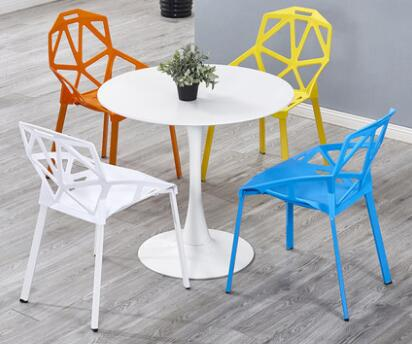Table modern simple leisure chair plastic backrest chair dining chair creative fashion reception negotiation table chair . glass dinner table milk tea shop reception desk and chair small family dining table