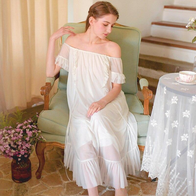 Sleepwear Nightgown Women Sleepwear Princess Queen Vintage Bridesmaid Princess Goddess Long Dress White Pregnant dress Plus size