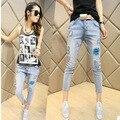 Весной 2016 новые джинсы женские отверстие тонкий брюки Харен печать ноги женские брюки карандаш девять