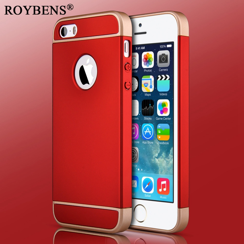 Roybens 2018 Hot Sale 3 in 1 Case For iPhone 5 5S SE Luxury Red Phone Cases PC Plating Hard Plastic Cover For iPhone SE Case
