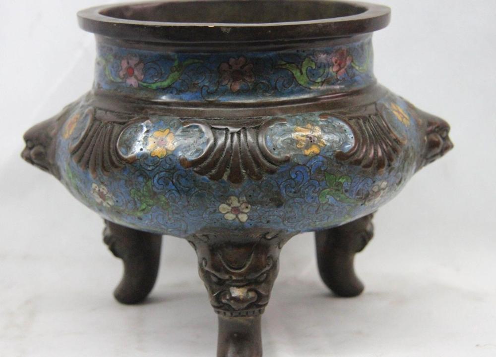 Buddhism old Bronze Cloisonne Temple Foo Fu Dog Lion Head incense burner CenserBuddhism old Bronze Cloisonne Temple Foo Fu Dog Lion Head incense burner Censer