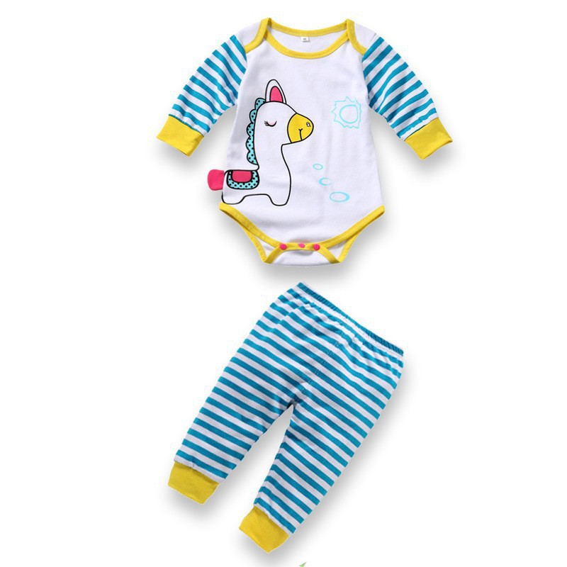 Baby rompers long sleeve cotton romper baby infant cartoon Animal newborn baby clothes romper+pants 2pcs clothing set newborn baby winter clothes romper set cotton baby clothing for girls boys striped rompers infant long sleeve product bebek