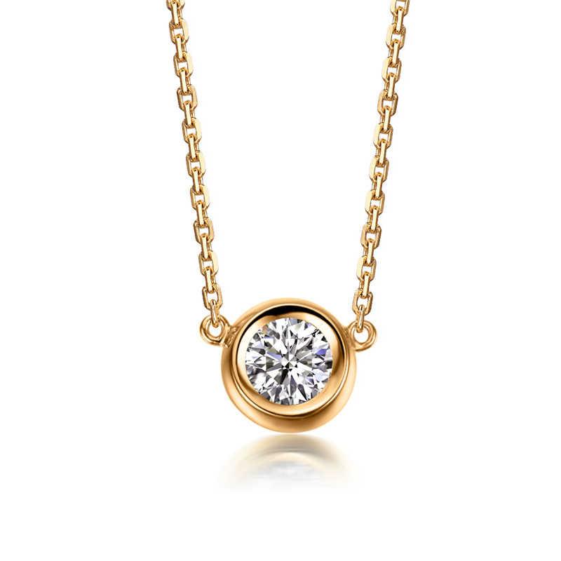 22667f755e ... AINUOSHI Luxury 18K Rose Gold Yellow Gold White Gold 0.1ct Real Diamond  Necklace Pendant Wedding ...