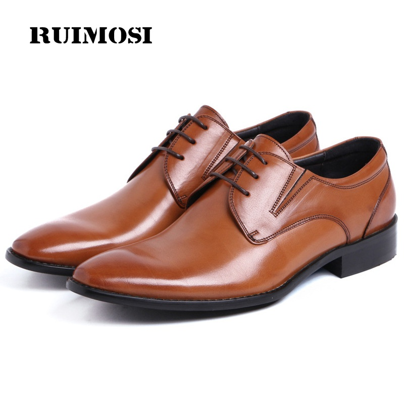 RUIMOSI New Arrival Pointed Toe Laced Man Formal Dress Party Shoes Genuine Leather Derby Wedding Oxfords Men's Bridal Flats QC16