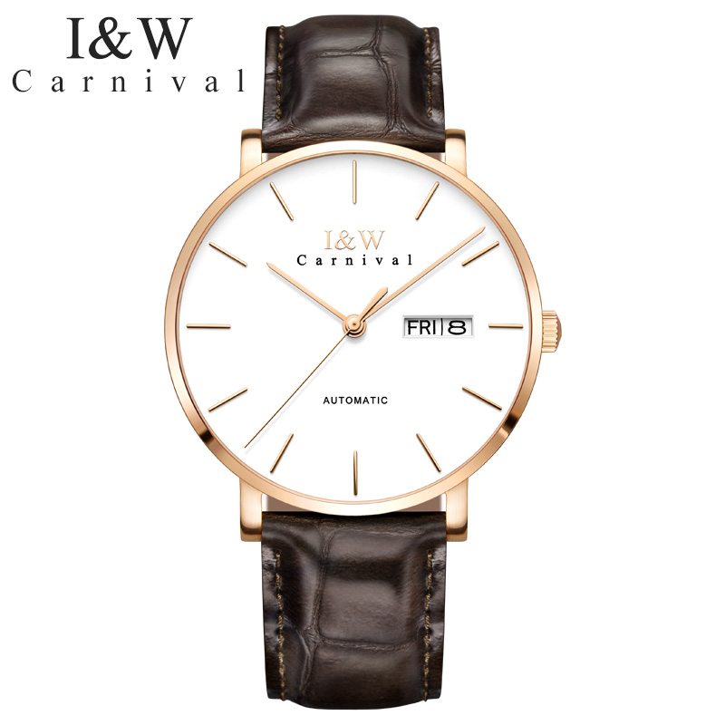 New CARNIVAL Men Watch TopBrand Luxury Automatic Mechanical Watch Cowhide Leather Business Waterproof Fashion Relogio Masculino цена и фото