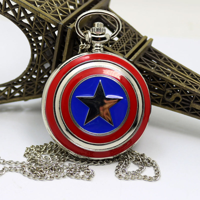 2016 New Hot Sale Style Captain American Star Shield Pocket Watch For Men Women