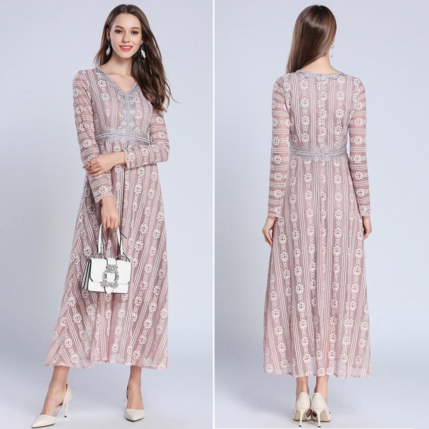 8fd25aa7d8 Long Maxi 2018 Neckl Robe Élégante rose En Sexy V Femme Printemps Longues  Dentelle Army Green Robes De ...