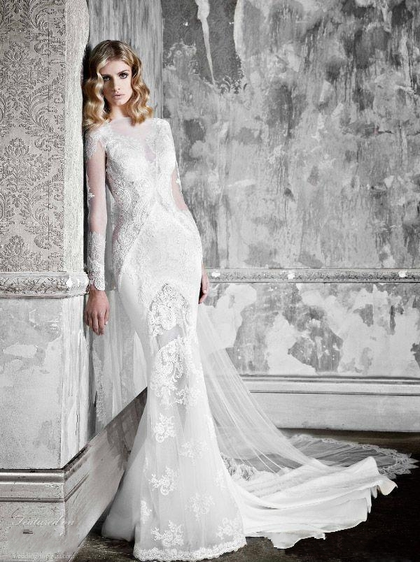 573162c071e Pallas Couture 2016 Full Winter Long Sleeves Mermaid Wedding Dresses Luxury  Lace Sheer Jewel Neck Trumpet Bridal Gown W112602