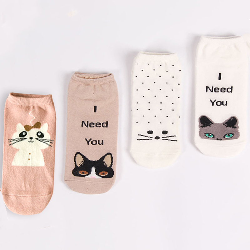 2017 New Fashion Design High Quality Cotton Women Socks Cute Cartoon Cat 3D Jacquard Print font