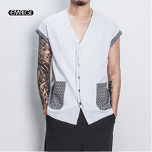 High Street Fashion Casual Short Sleeve Mens T-shrit Japan Warrior Vest Tees Shirts Summer Linen Male T Shirt