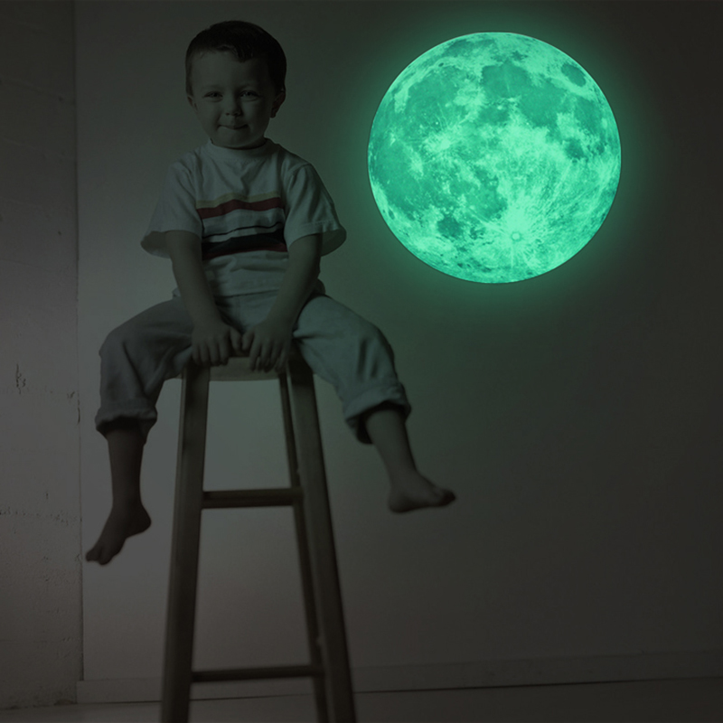 2017 Hot 30cm Moon Glow in the Dark Moonlight Luminous Art Mural Wall Sticker For Kids Room Home Decoration Pegatinas De Pared