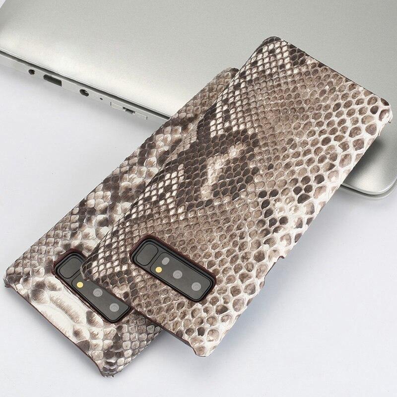 Véritable cas de Téléphone en cuir Pour Samsung S7 S8 S9 Plus A5 A7 A8 J3 J5 J7 2017 Note 8 9 python peau texture Dur couverture arrière de shell