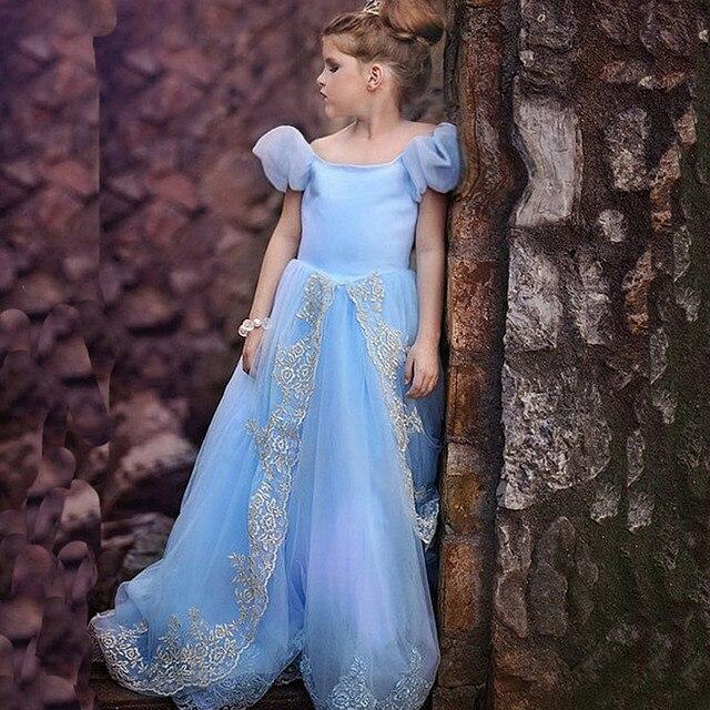 New Girls Cinderella Dresses Children Snow White Princess Dresses Rapunzel Aurora Kids Party Christmas Princess Dress Costume