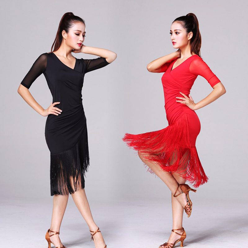 2020 New Ladies Latin Dance Dress Women Black Stage Costumes Tassel Salsa V-Neck Rumba/Samba Salsa Perform Fitness Dancewear