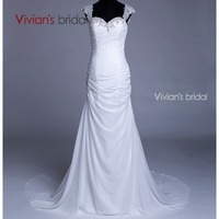 Vivians Bridal Appliques Mermaid Lace Wedding Dress Organza Floor Length Vestido De Noiva