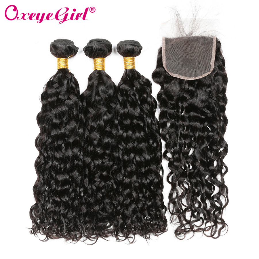 Oxeye girl Human Hair Bundles With Closure Natural Color Brazilian Hair Water Wave Bundles With Closure