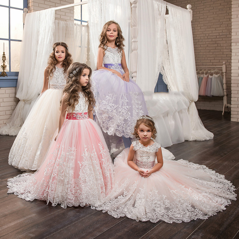 Romantic Lace Puffy Lace Bow Flower Girl Dress NEW For Weddings Tulle Ball Gown Flower Girl Party Communion Dress Pageant Gown