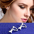 2016 New Fashion Crystal Earrings For Woman Jewelry Cute Animal Dolphin Shape White Gold Plated Stud Earring Female Brincos
