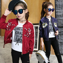 Girls coat sports solid color embroidered jacket autumn spring long sleeve baseball new girls shirt children clothing недорого
