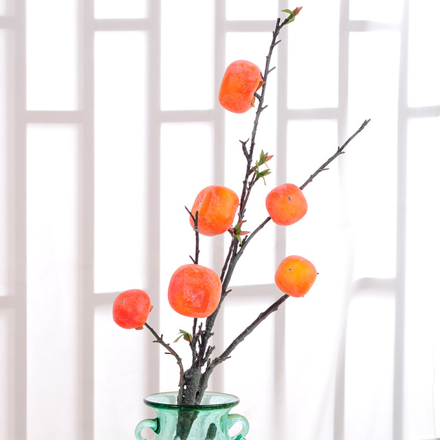 Modern Decorative Flowers Fruit Persimmon Simulation Long Branch Fruit Trees  Living Room Decoration