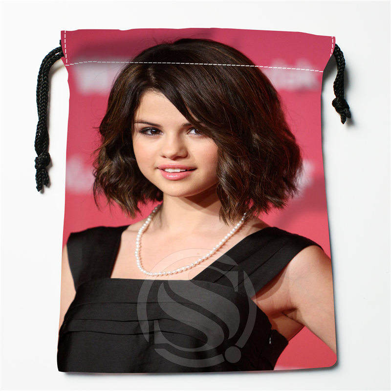 J&w105 New Selena Gomez Custom Printed  Receive Bag Compression Type Drawstring Bags Size 18X22cm W725&105dDW