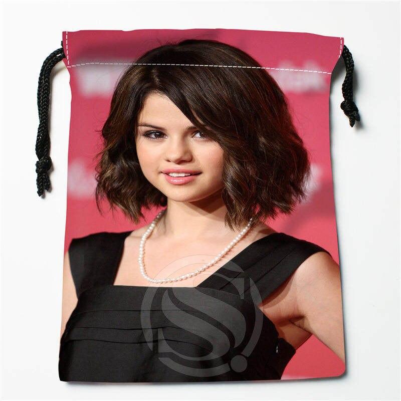 J&w105 New Selena Gomez Custom Printed  Receive Bag Compression Type Drawstring Bags Size 18X22cm W725&105dDW