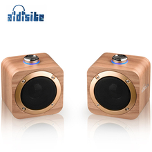 AIDISITE Wooden Bluetooth Speaker Rotating Tuning Wireless Portable Loudspeaker Sound 3D Stereo USB Charging
