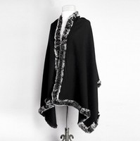 Classic Black Women S 100 Wool Rabbit Fur Shawl Chinese Style Vintage Cashmere Cape Solid Color