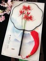 Fine Chinese Decorative Mulberry Silk Fan Dance Hand Double side Suzhou Embroidery Craft Fan Ebony Handle Women Gift Fan