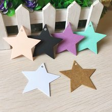 100pcs 5x5cm Paper Star Shaped Small Gift Box Packing Hang Tags,DIY Handmade Craft Price Tags, Luggage Name Note Labels(China)