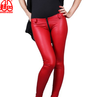 Hot Sexy Latex Pencil Pants Matte Red Sexy Faux Leather Low Waist Pants Zipper Crotch Detail Slim Fashion Club Dance wear